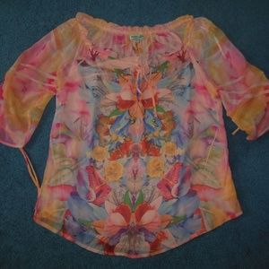 One World Medium Coral Pink Butterfly Chiffon Top